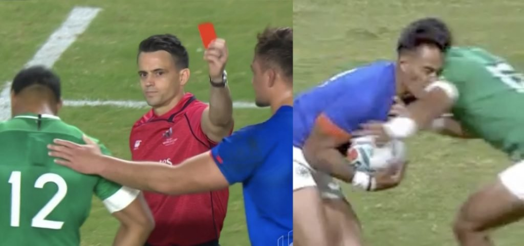 Bundee Aki red carded against Samoa for another high hit