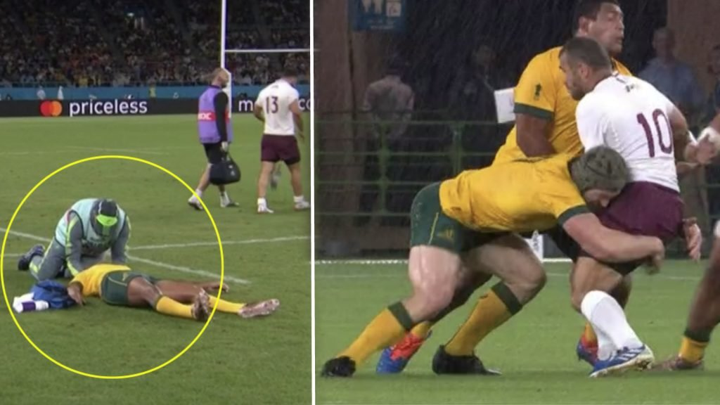 The collisions are brutal in the Australia vs Georgia World Cup match