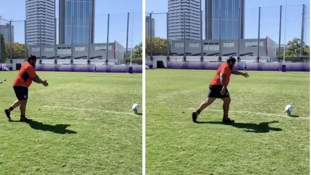 Tonga release video of 151kg PROP Ben Tameifuna and his kicking skills