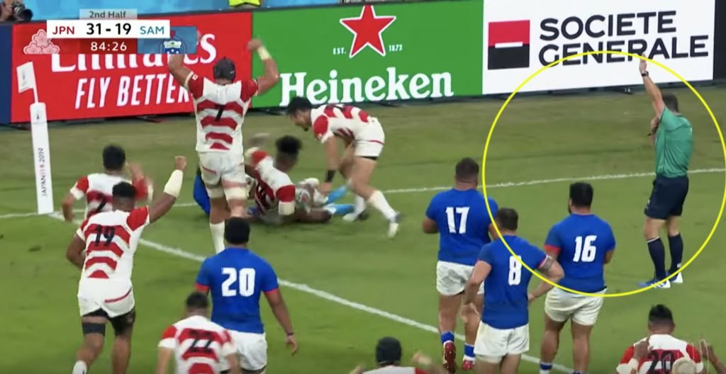The try that could very well have dumped Scotland out of the World Cup
