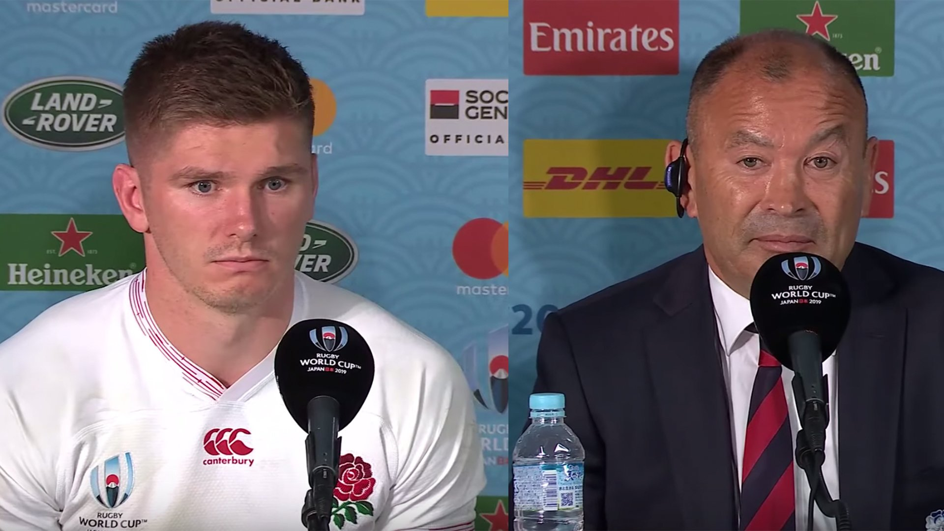 Owen Farrell and Eddie Jones try and explain exactly what happened today to the media