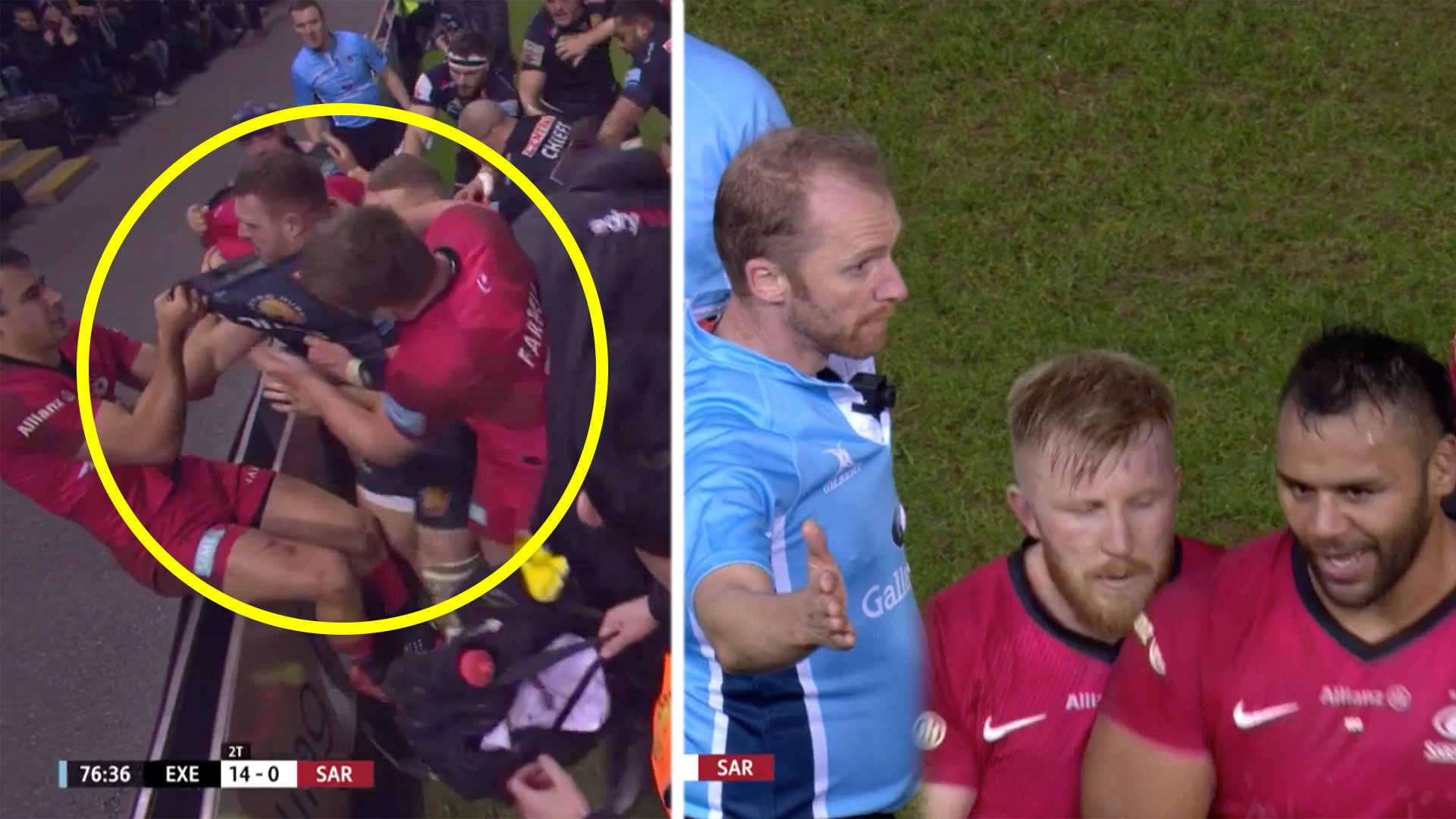 Final moments of Saracens vs Exeter match descends into Chaos as Saracens brawl AGAIN