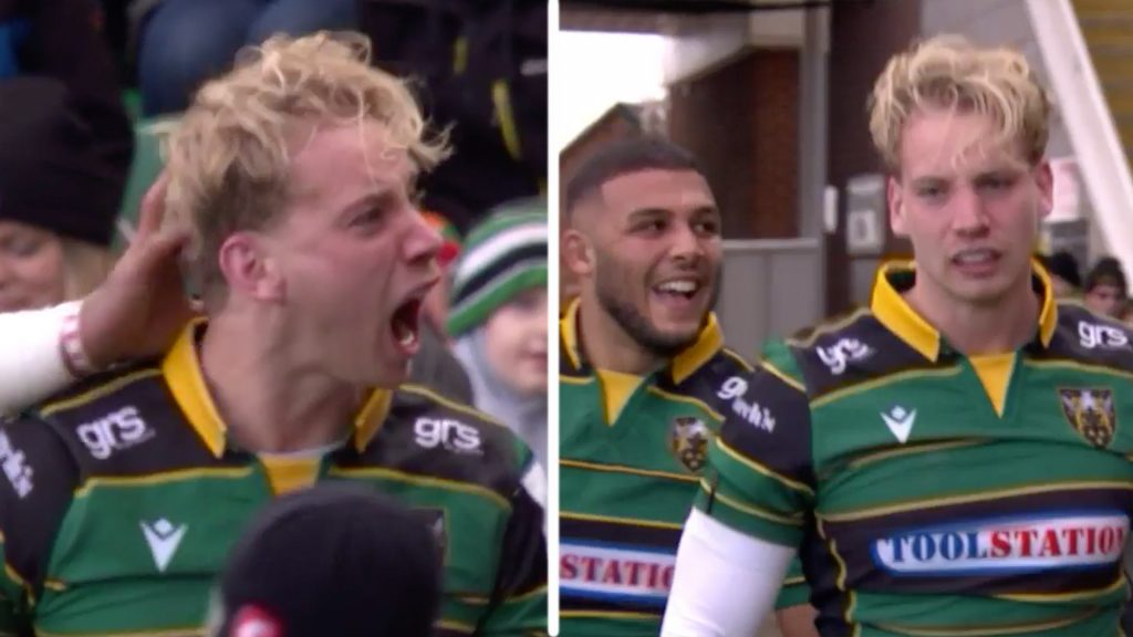 Franklins Gardens explodes with sound when Harry Mallinder scores on first game back in 16 months