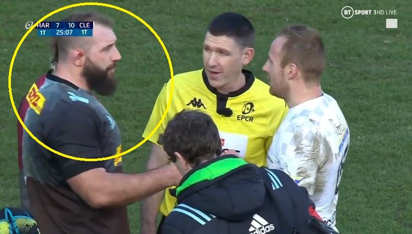 Audio picks up Joe Marler confrontation with former England international in bid to save ref