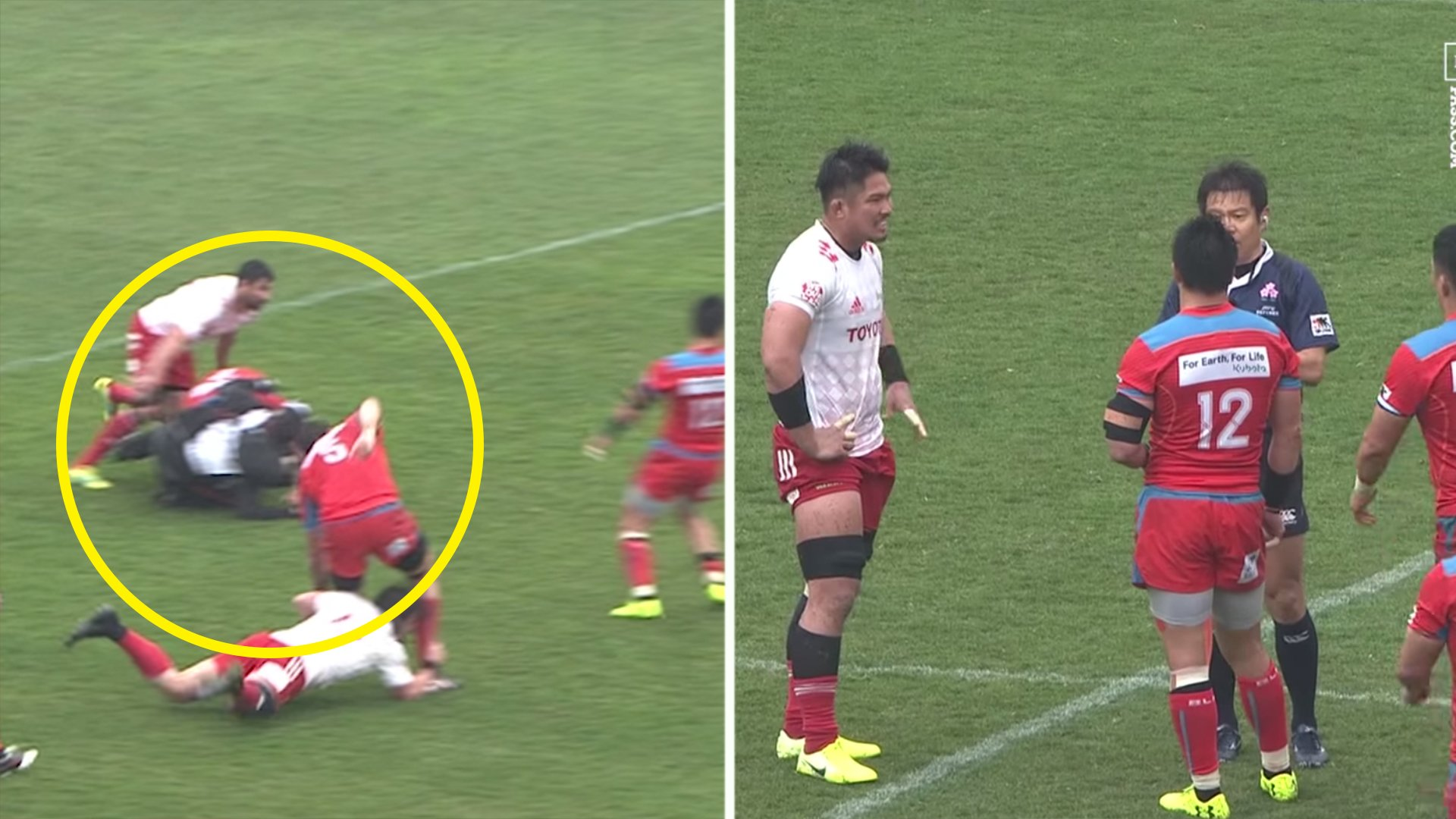Fans aren't happy as a medic in rugby match is pushed to affect play