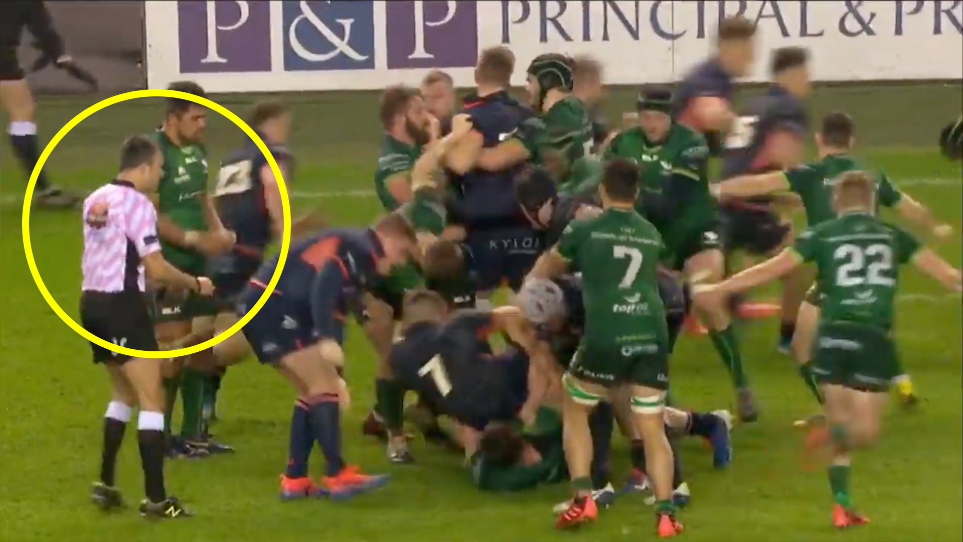 Rugby match descends into chaos as referee struggles to control brawling players