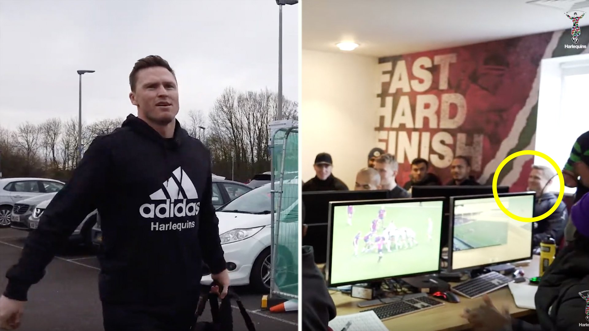 Harelquins release video of Chris Ashton arriving at the club and interacting with new teammates