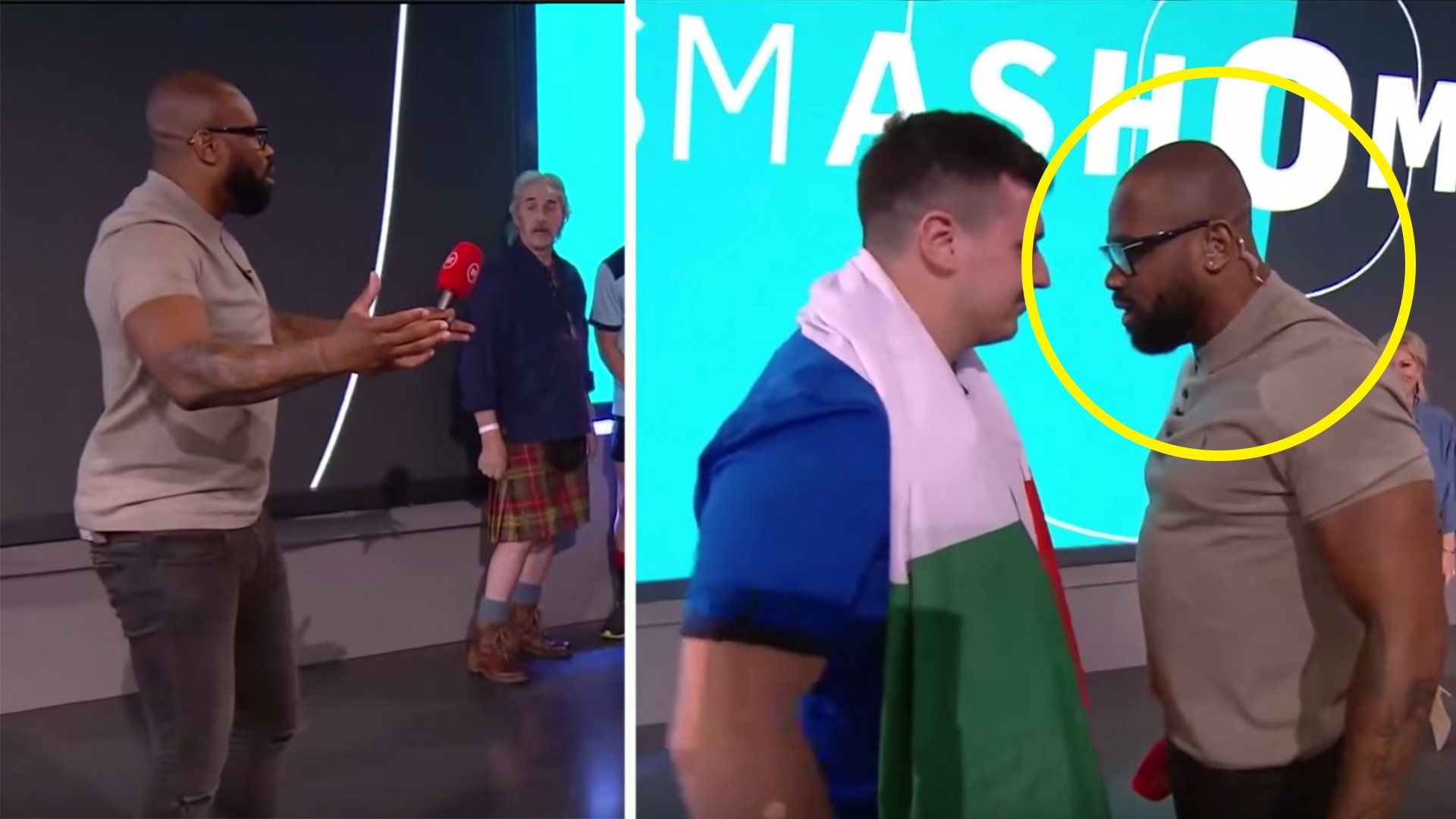 Ugo Monye kicks off at helpless Italian fan in awkward live show moment
