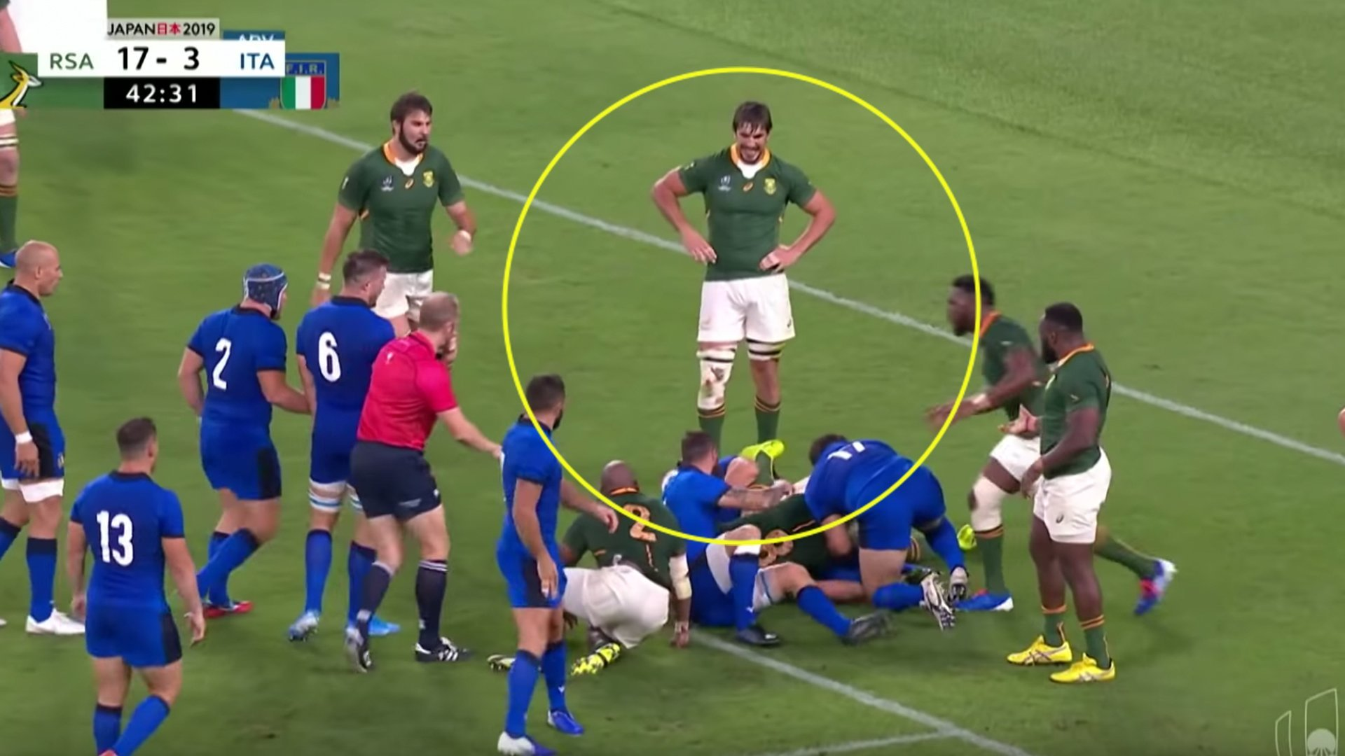 The Eben Etzebeth reaction to a spear tackle on his teammate that left the rugby world confused