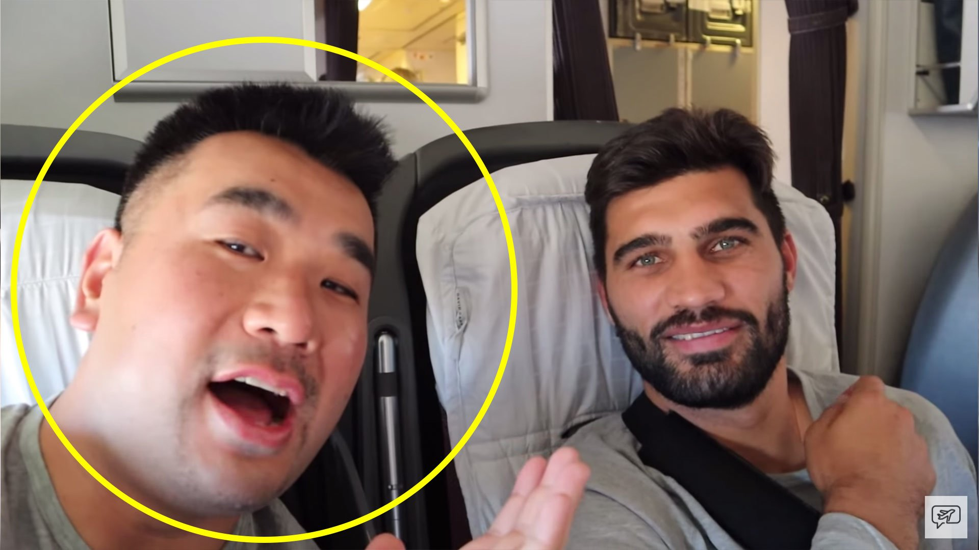 Famous vlogger has no idea how who or how famous Springbok team is when he sees them on plane