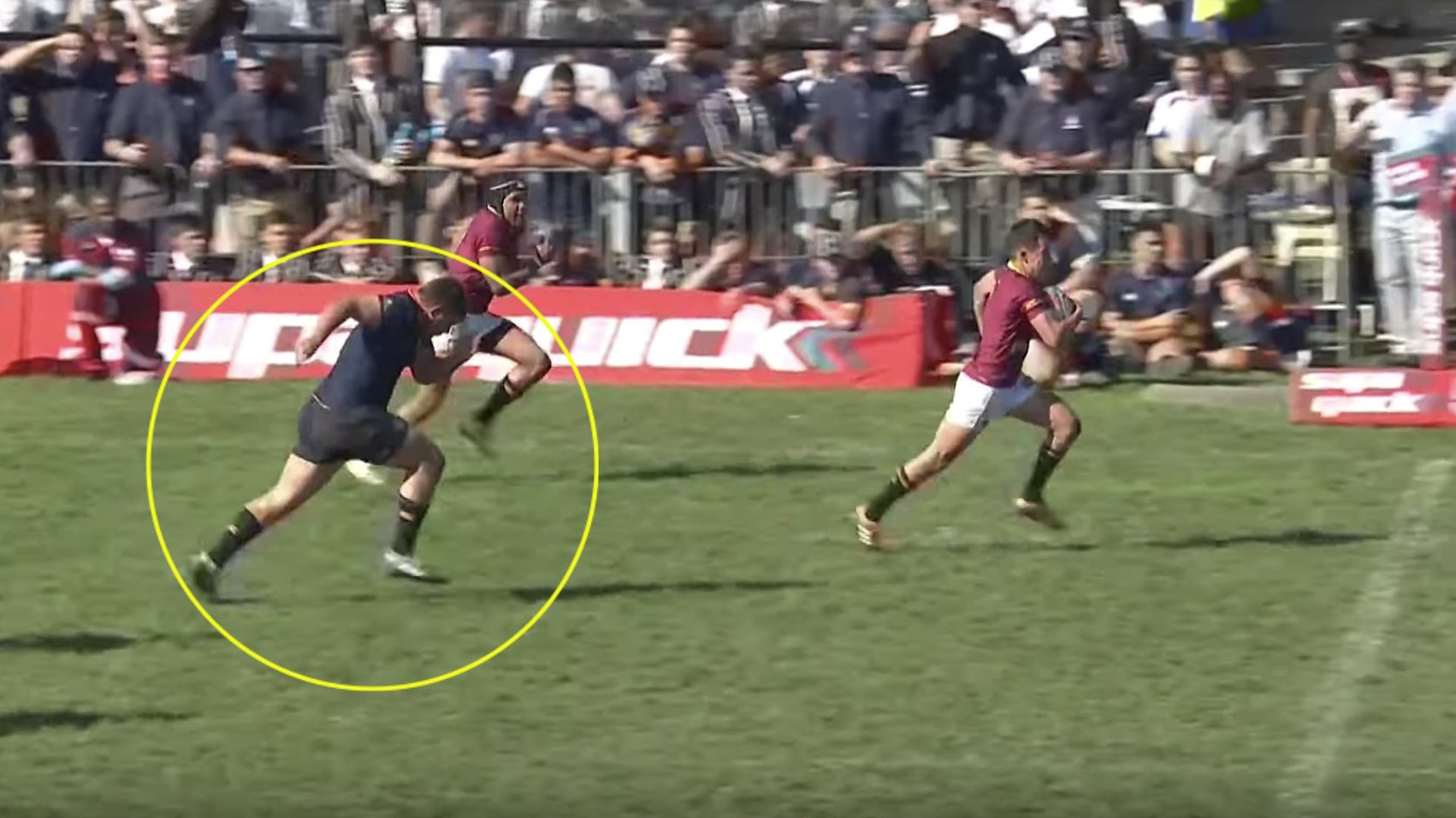 Prop displays unbelievable speed to catch winger from impossible margin