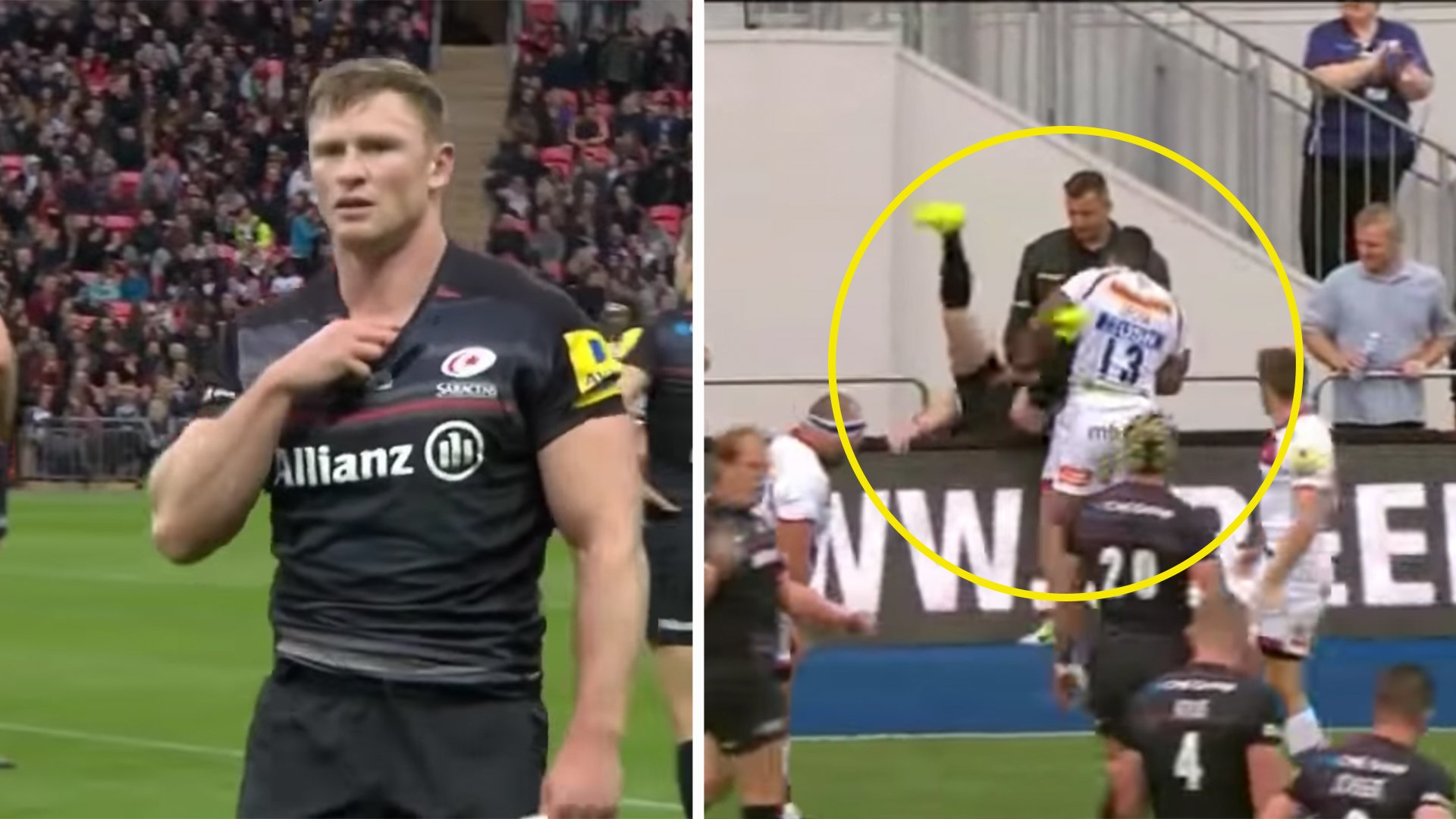 Chris Ashton tries to mix it up with Pacific Islander and comes off second best