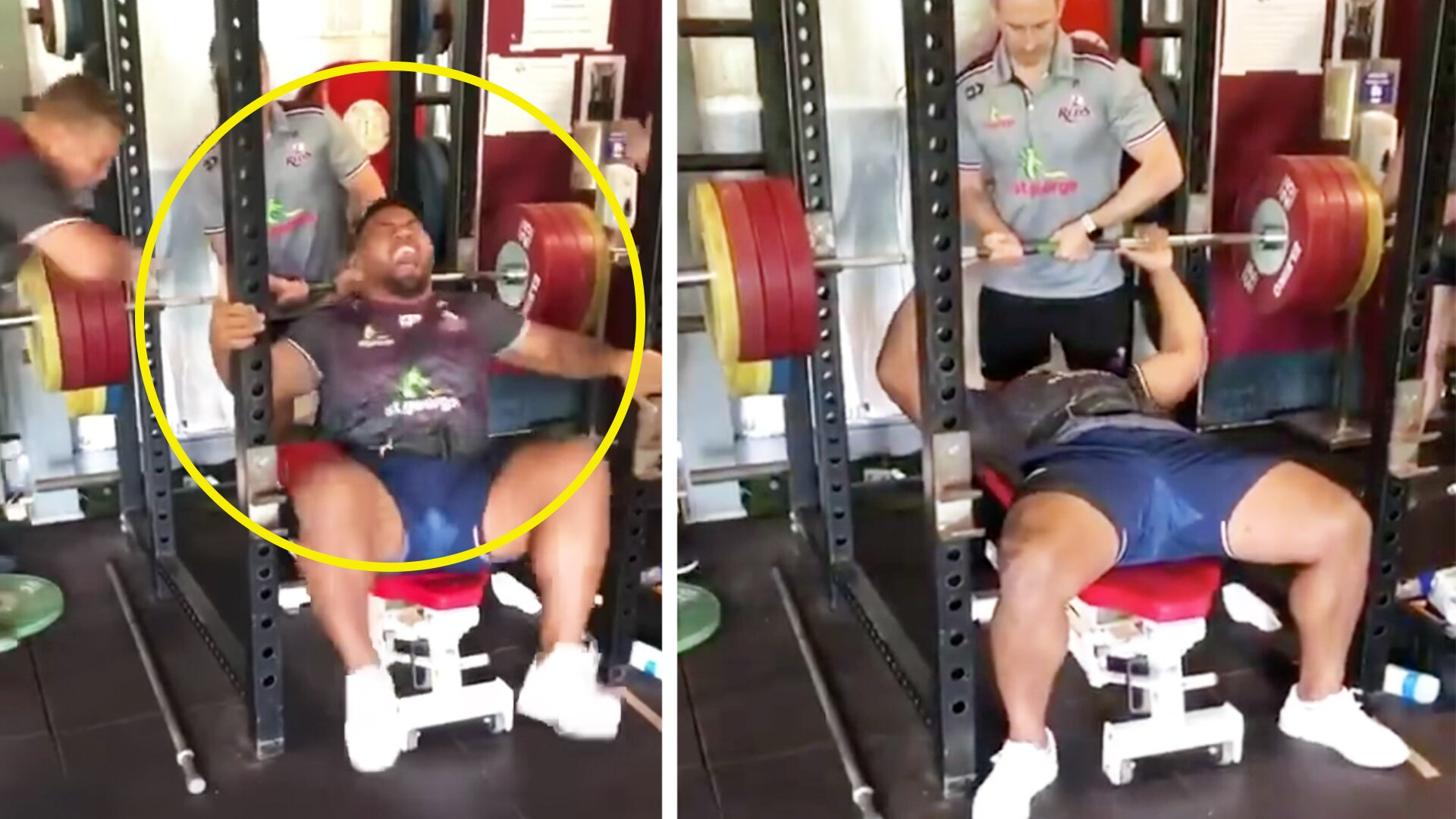 Video emerges of Reds Prop Taniela Tupou attempting 200kg bench press and the results are shocking