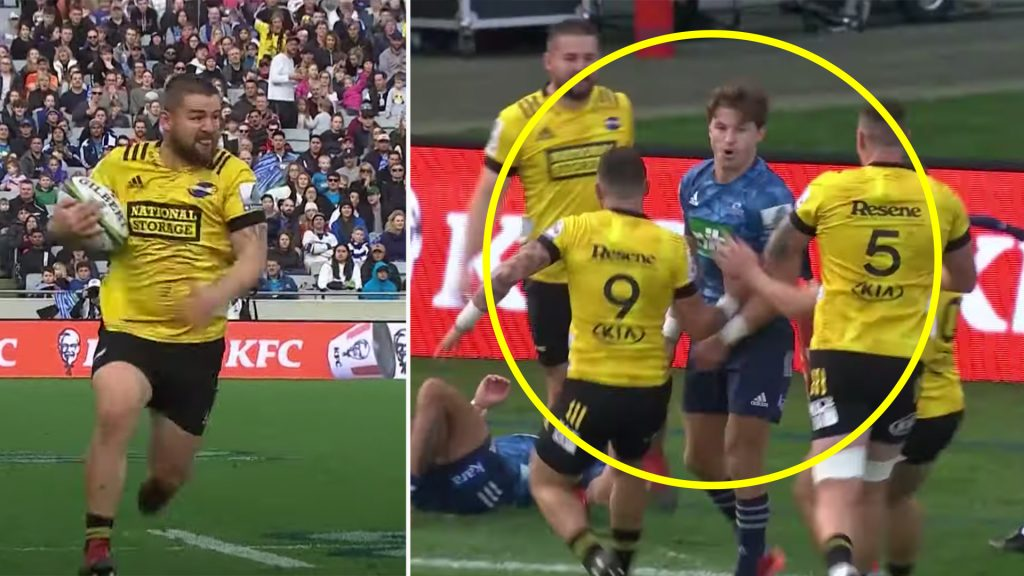 Hurricanes players go in on Beauden Barrett after Dane Coles wonder try