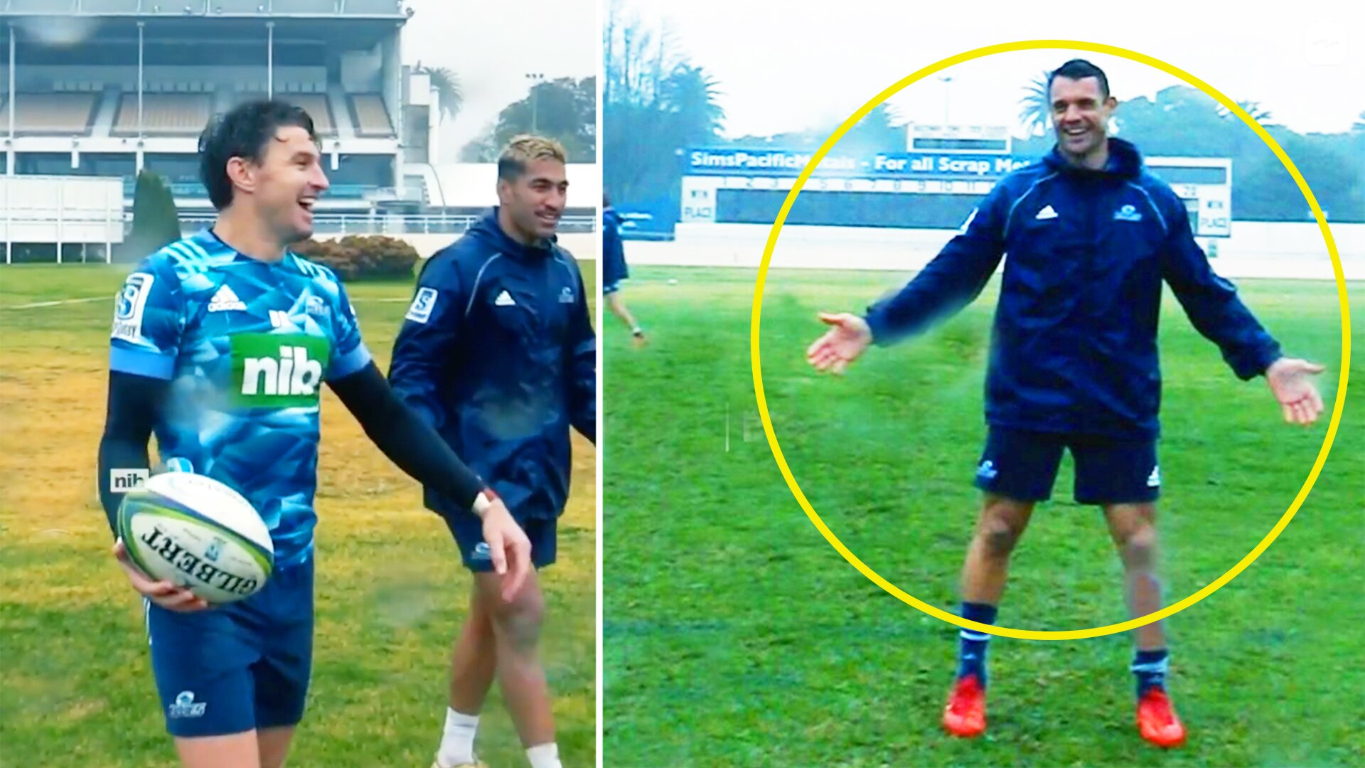 WATCH: New video shows Beauden Barrett and Dan Carter squaring off in epic kicking contest