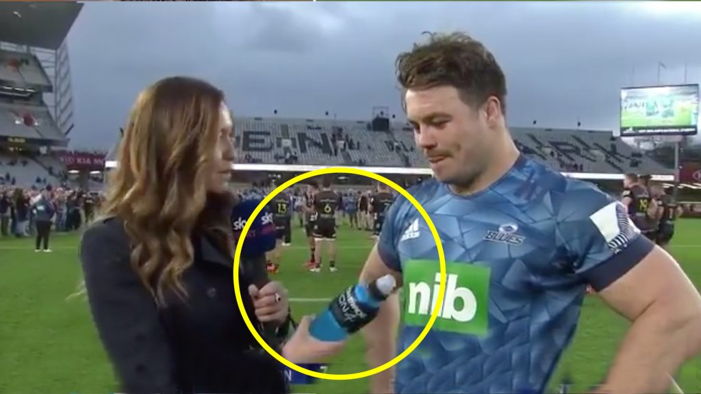 Blues player is handed a Blue powerade during post match interview - Epicness ensues