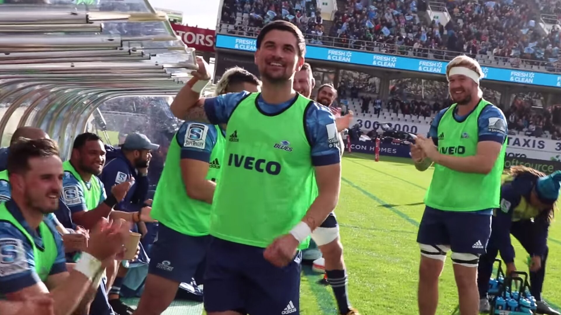 The Blues rugby team decided to film their bench for an entire game and it's sensational