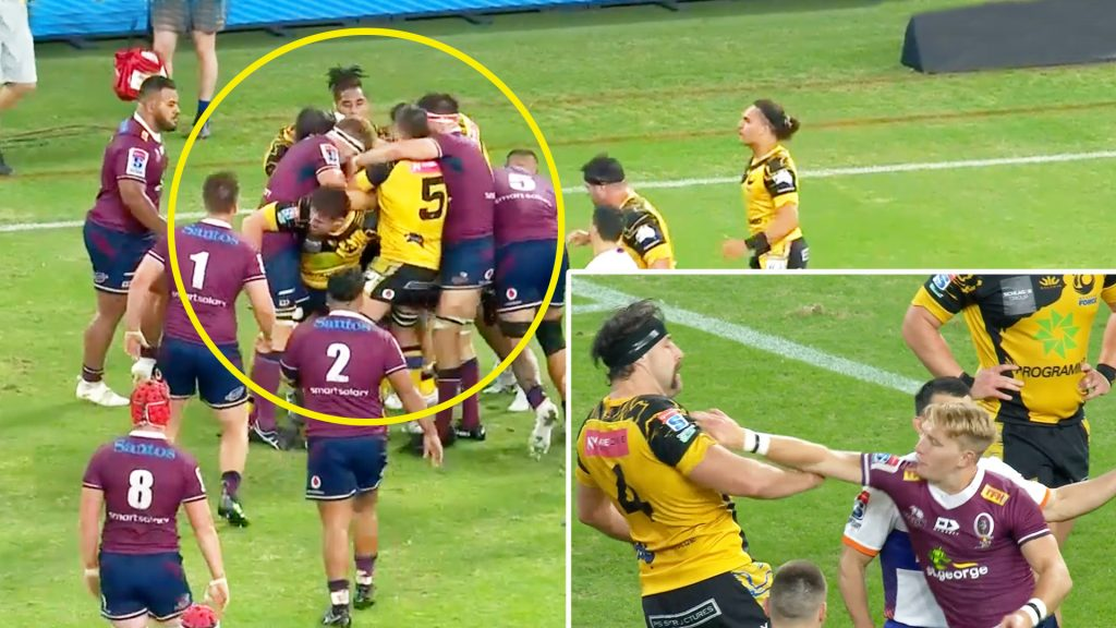 Shocking scenes as mass brawl breaks out in high scoring Super Rugby thriller