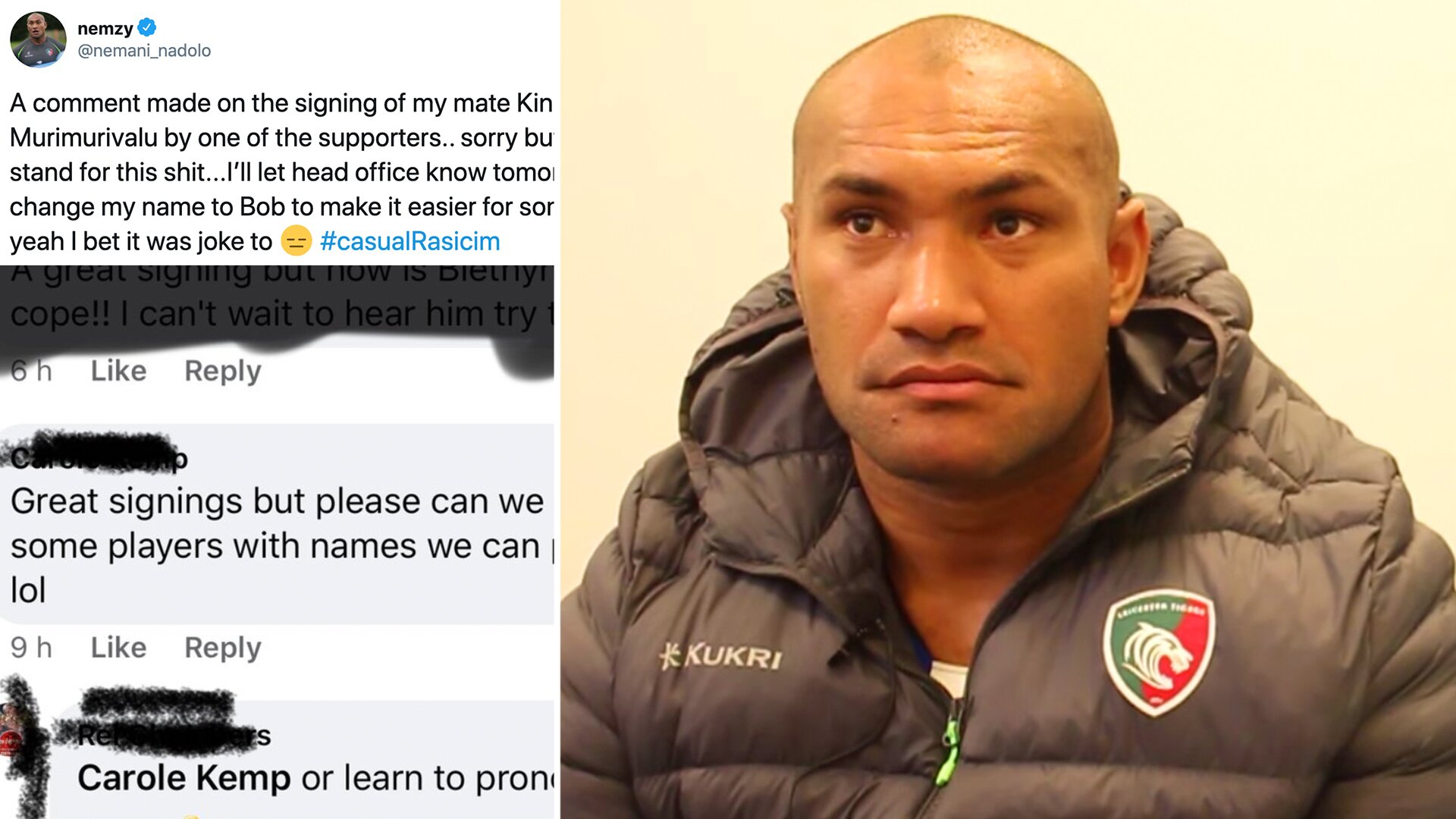 Nemani Nadolo has clashed with fans at his new club in post about casual racism