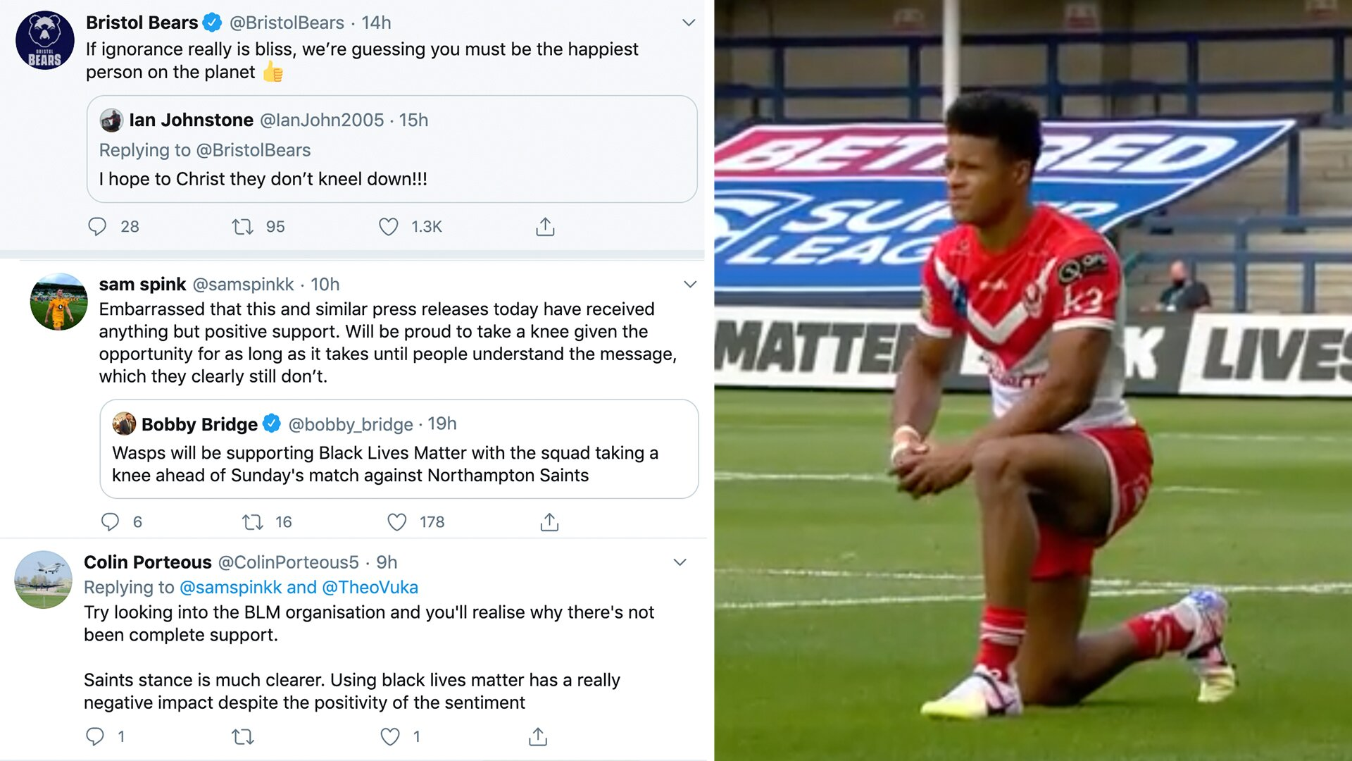 Players react to BLM gestures announcement as some rugby fans backlash