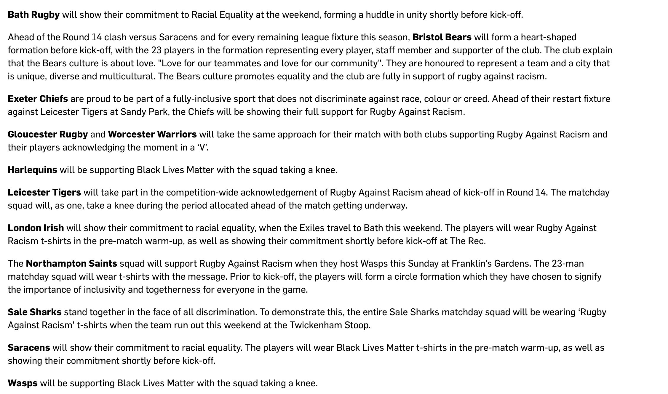 Players React To Blm Gestures Announcement As Some Rugby Fans Backlash Rugby Onslaught