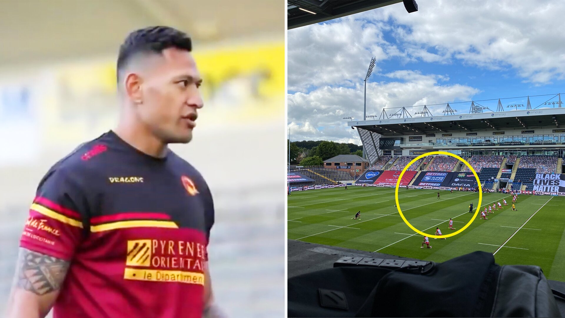 People are stunned by what Israel Folau did today as players knelt before kick-off