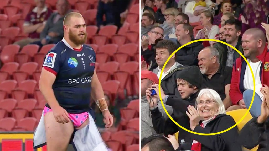 Crowd erupts after prop plays on through wardrobe malfunction