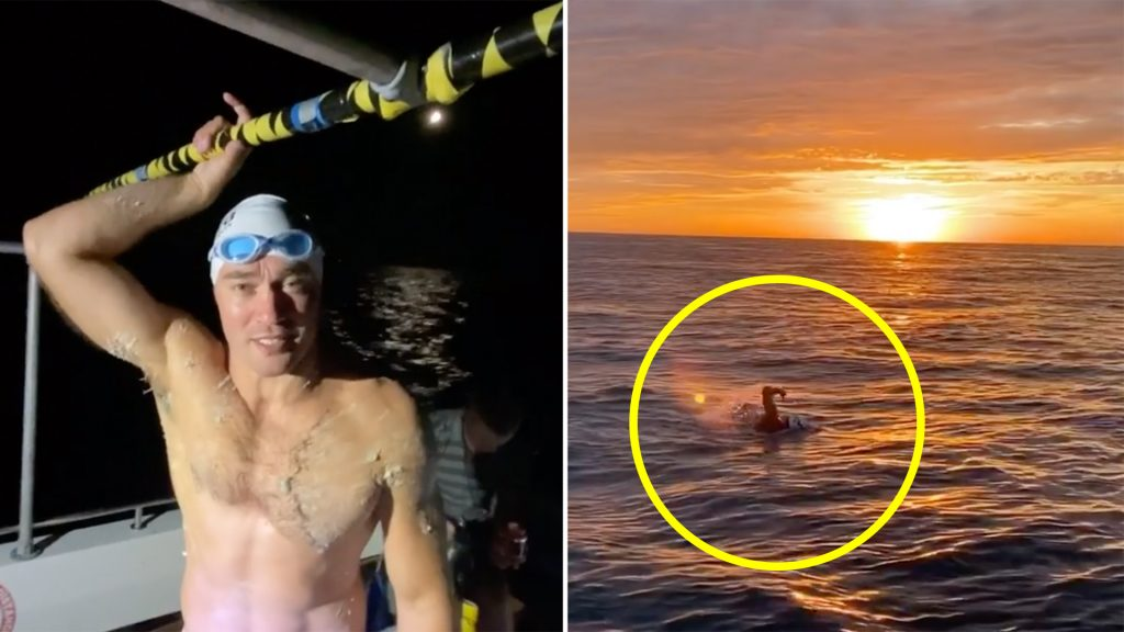 A rugby player is swimming the English channel and the videos that he is posting are stunning