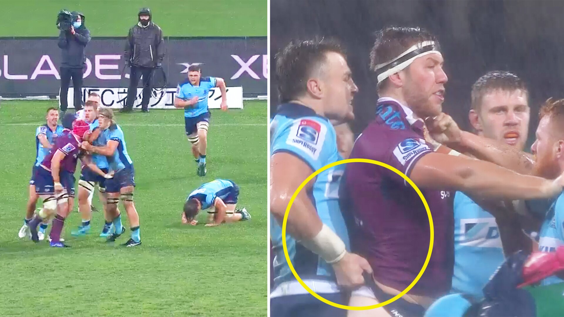 The first and last 'wedgie' you will ever see in a televised rugby match