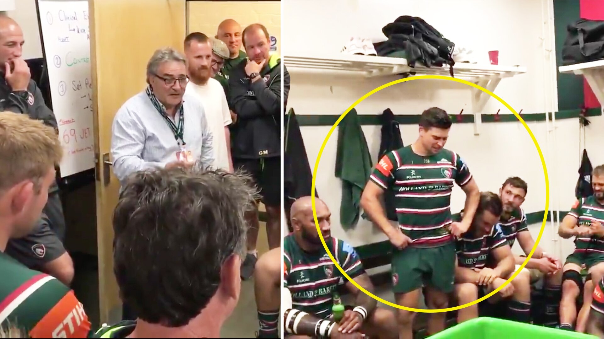 Ben Youngs breaks down in tears after his father enters the Leicester dressing room to give emotional speech to his son