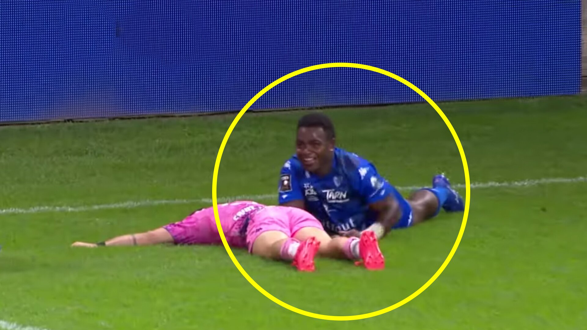 We witnessed one of the best ever try saving tackles in France last weekend