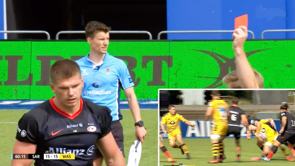 Owen Farrell sent off after horror tackle in today's Gallagher Premiership clash with Wasps