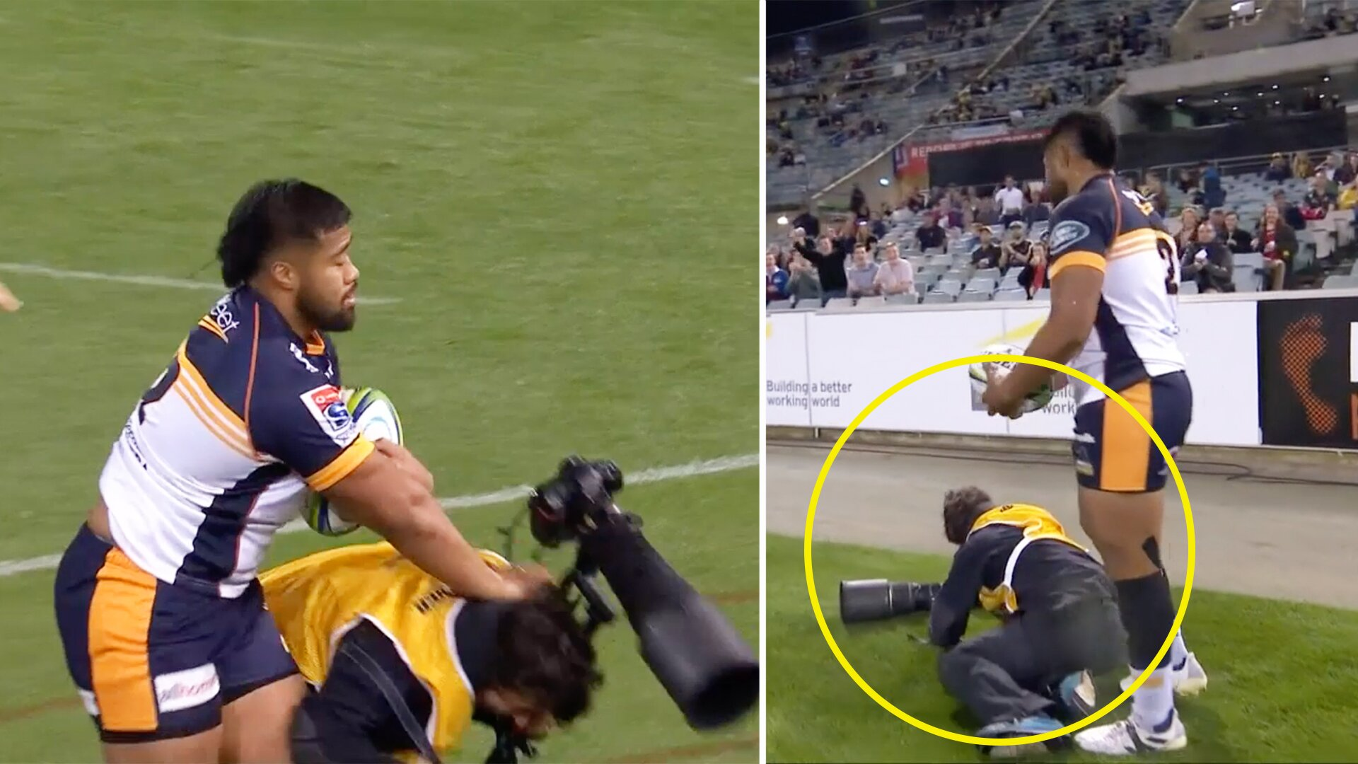 Crowd stunned in Super Rugby AU final after shocking photographer incident