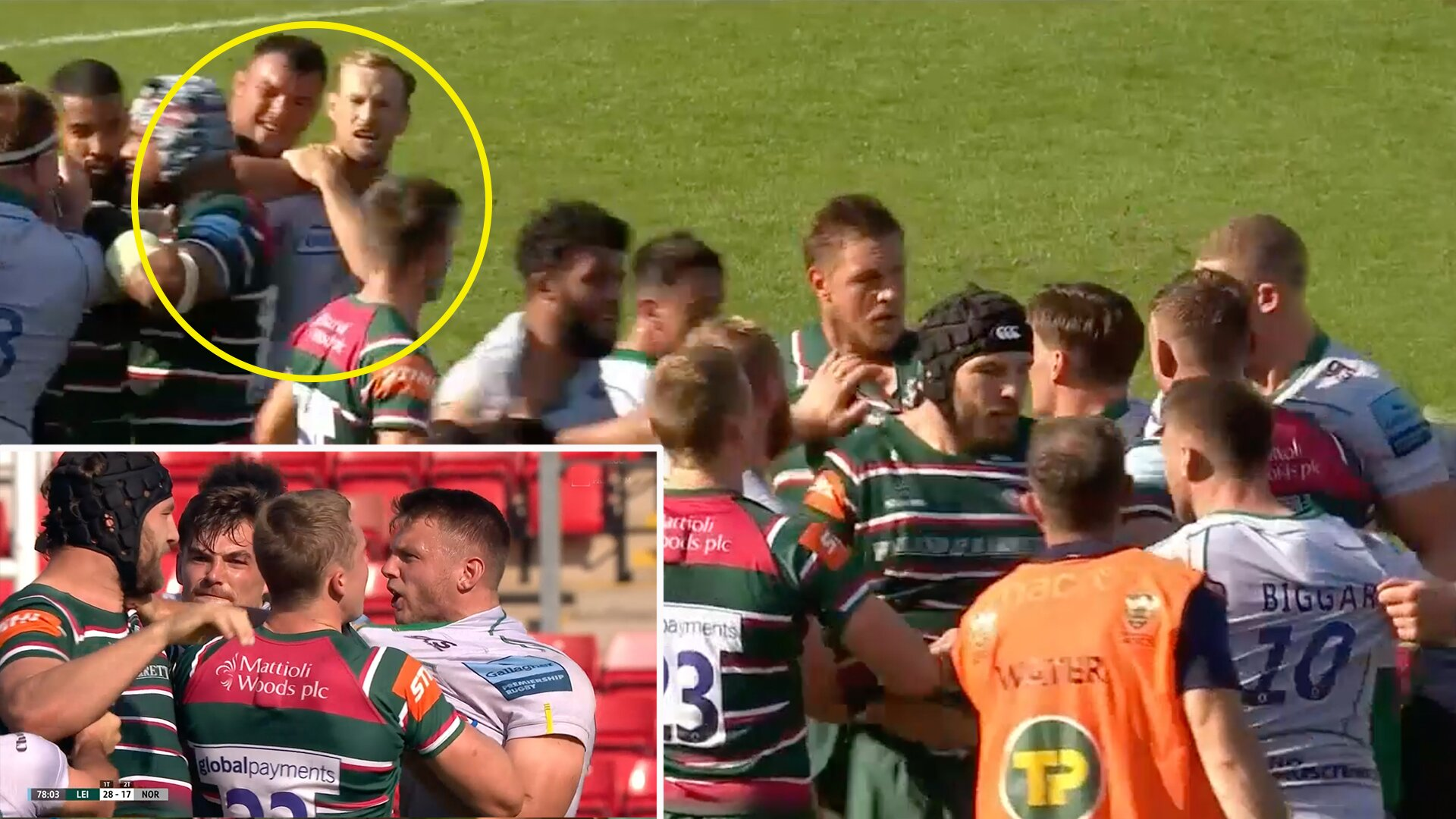 'You want a kiss mate?' Bizarre scenes at Welford Road as Leicester Tigers vs Northampton Saints ends in mass brawl