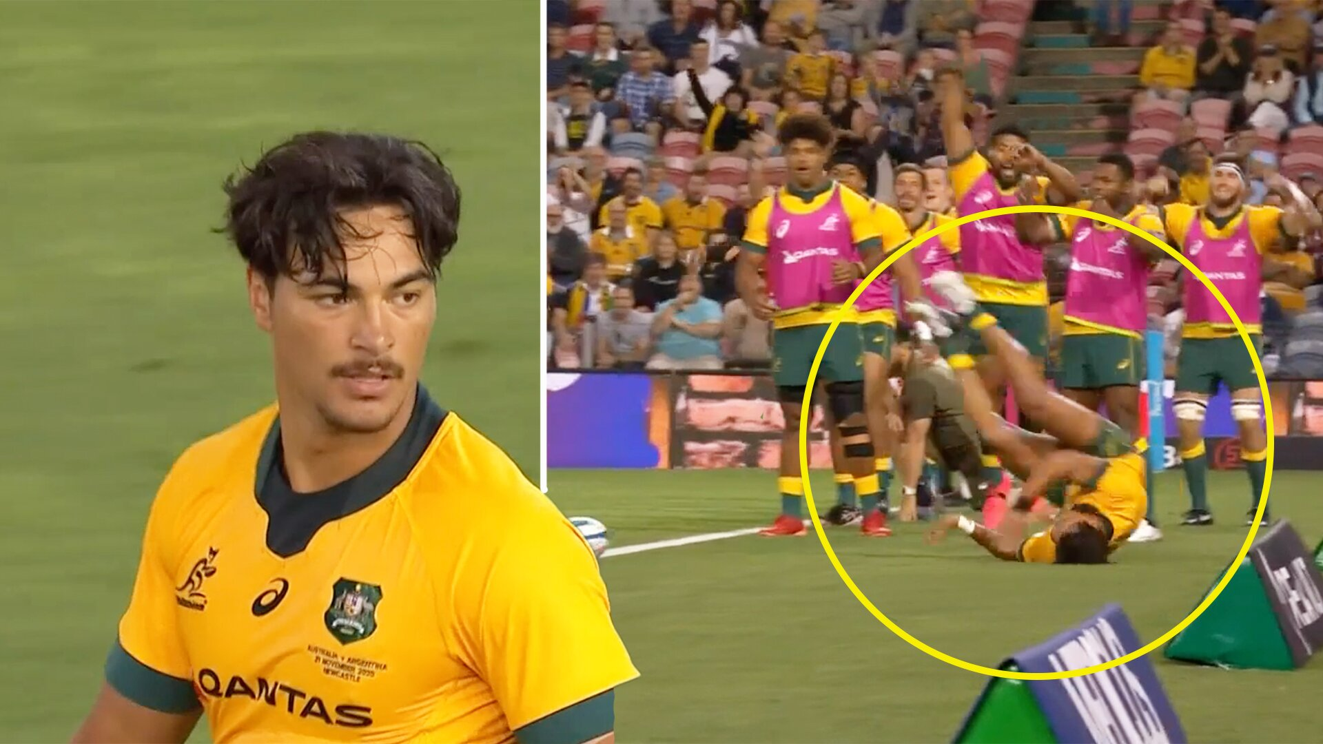 Jordan Petaia wows Tri-Nations crowd with sensational try scoring effort today