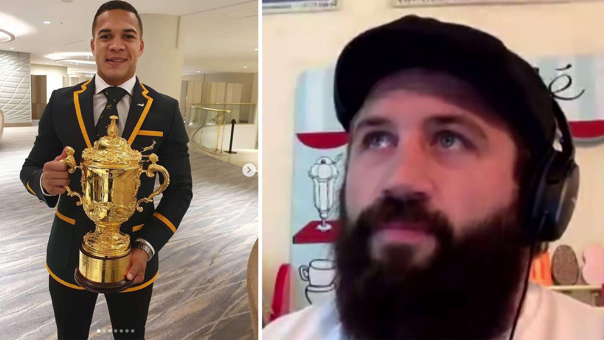 Joe Marler responds to Cheslin Kolbe celebrating the Springboks' 1 year World Cup celebrations