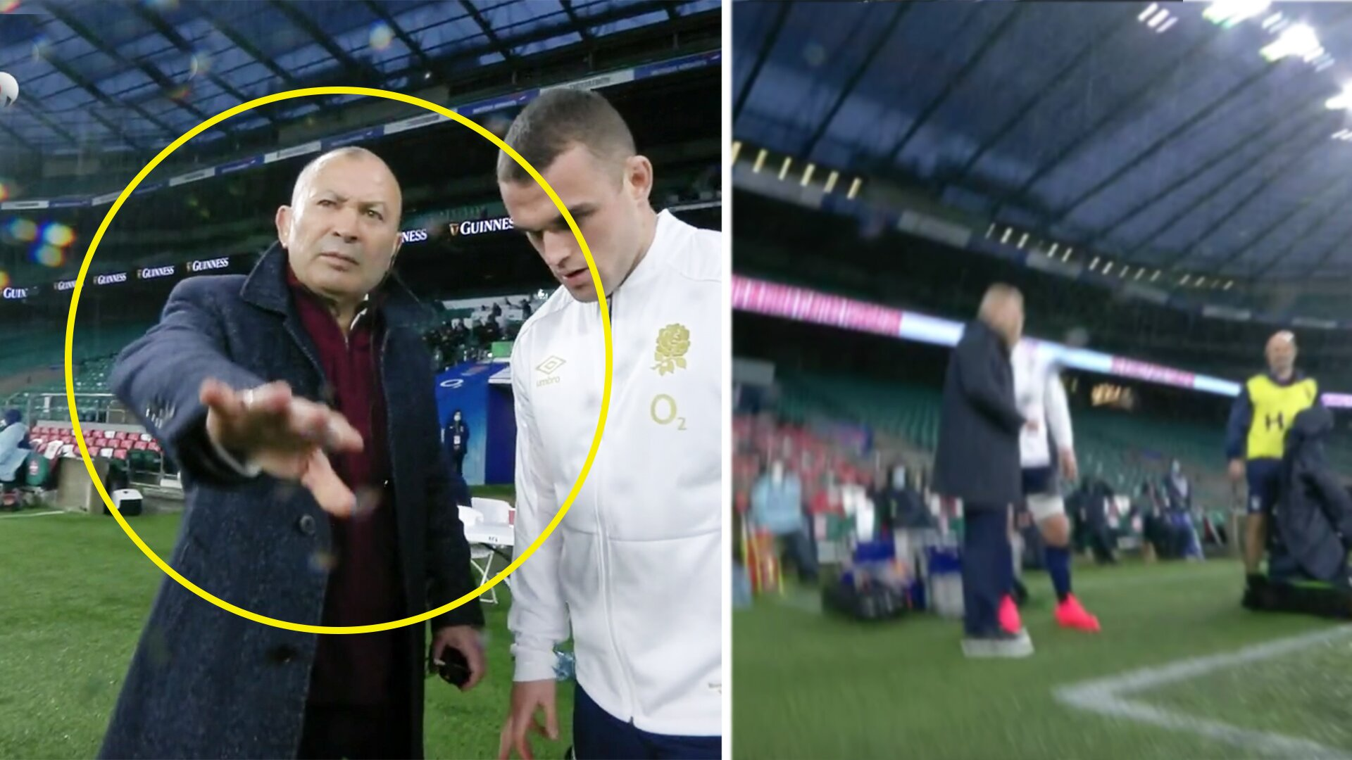 Eddie Jones orders cameraman to get out of the way and he falls over in bizarre touchline altercation