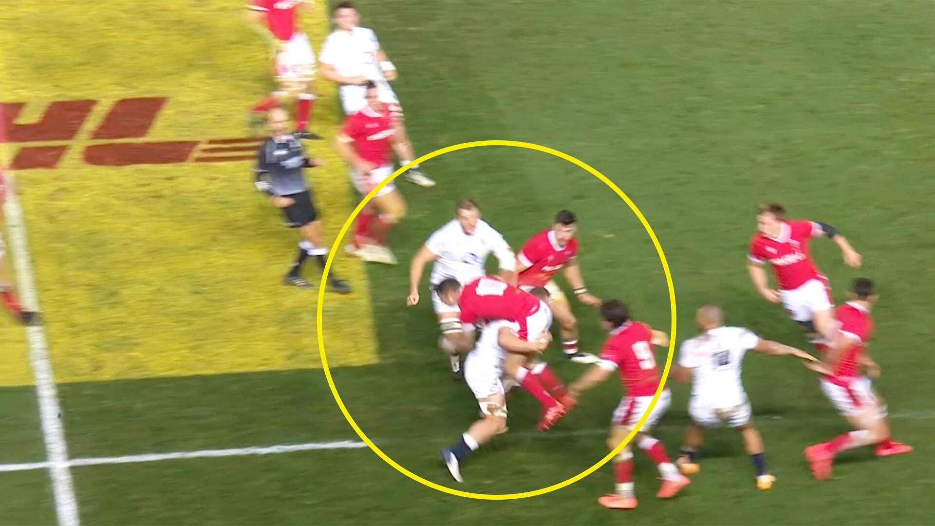 Social media erupts following England try after tackle in the air is ruled legal