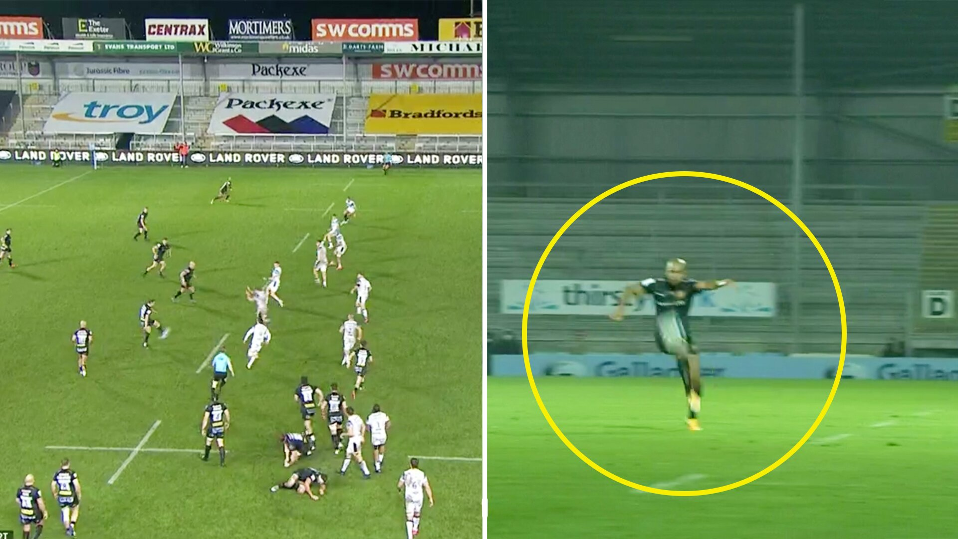 Exeter Chiefs winger Tom O'Flaherty scores unbelievable physics-defying try in today's Gallagher Premiership clash
