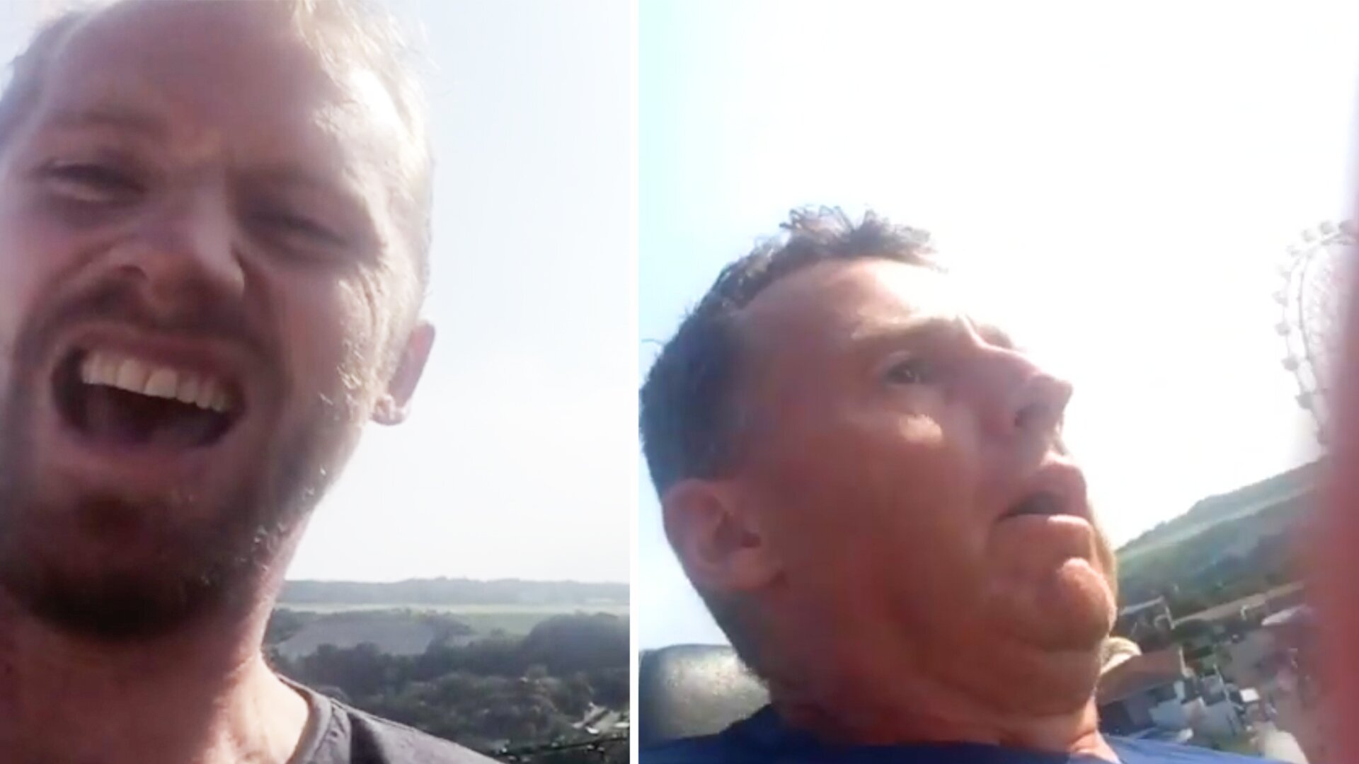 New video of Nigel Owens meltdown whilst on rollercoaster with Wayne Barnes is going viral