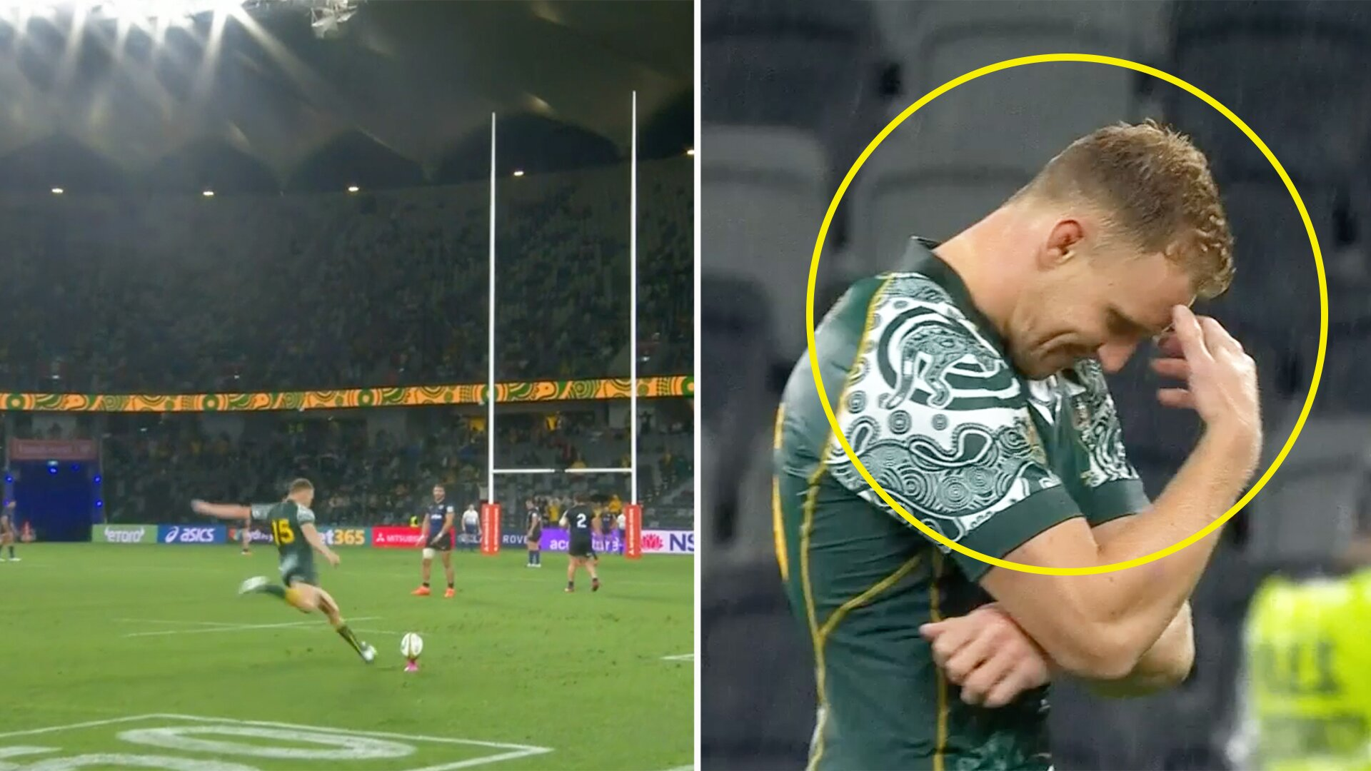 Reece Hodge's reaction to missing match winning kick against Argentina has everyone talking on social media