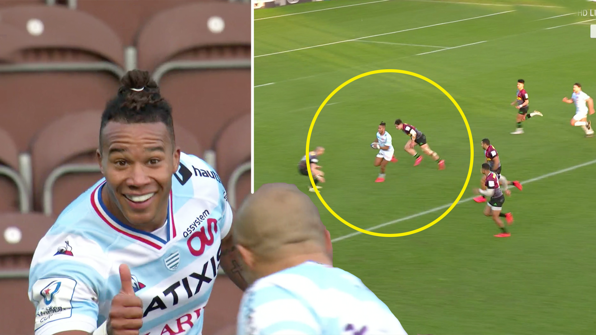 Stoop stunned as French flyer Teddy Thomas takes on half of Quins team to score phenomenal solo try