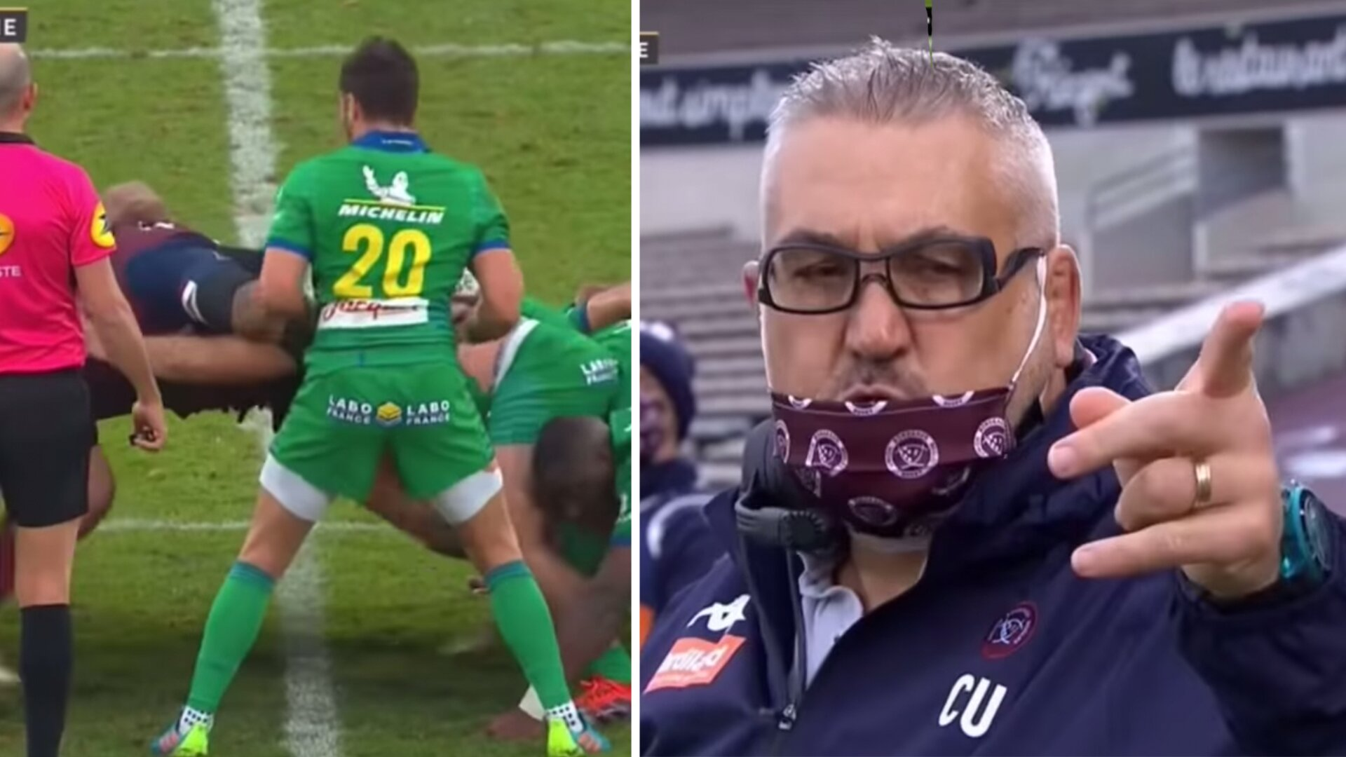 Shocking moment in Top 14 as Bordeaux rugby coach is seen going off on opposition coach