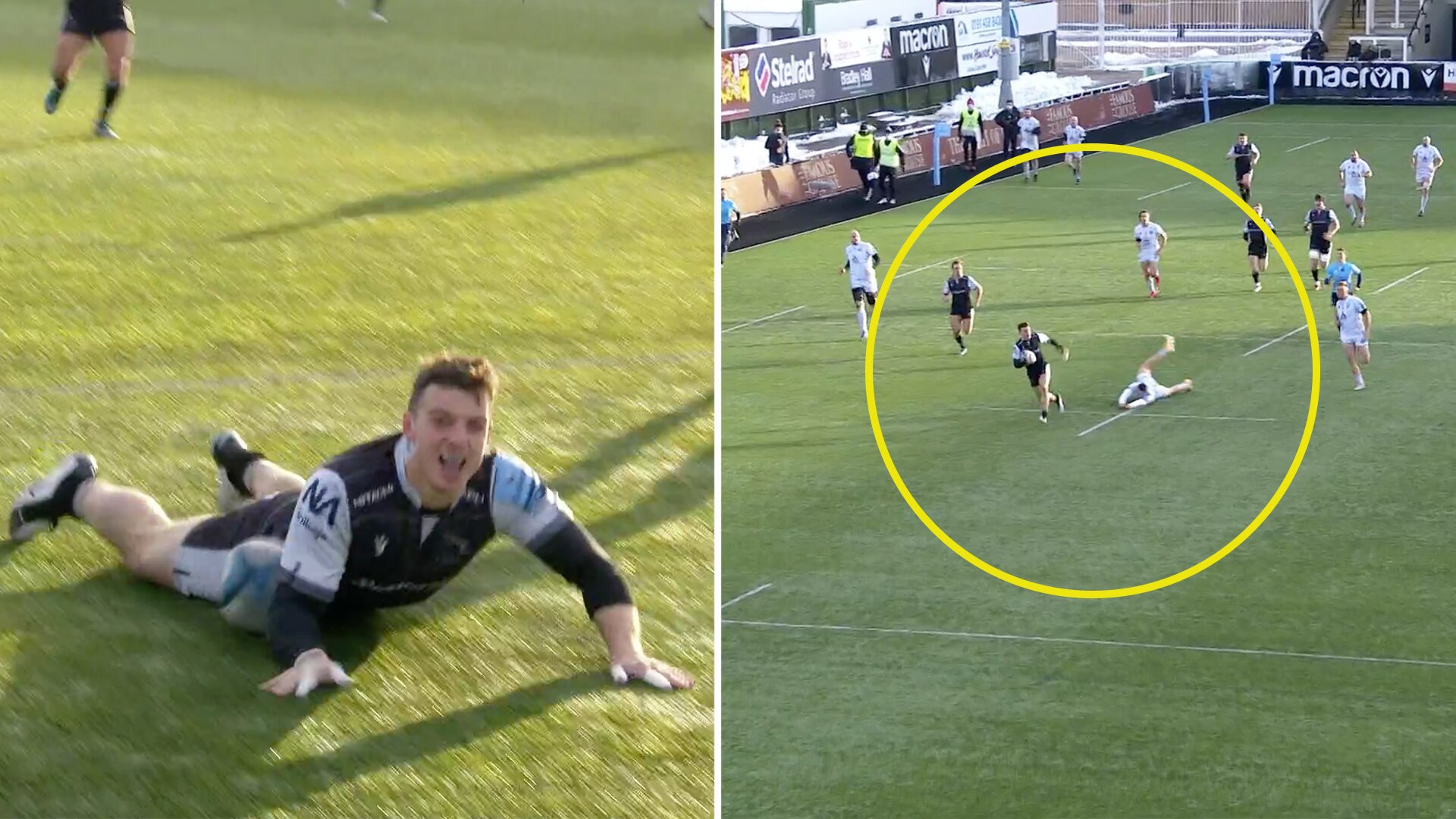 Newcastle kid winger violates Jonny May with stunning length of the field try in Premiership clash