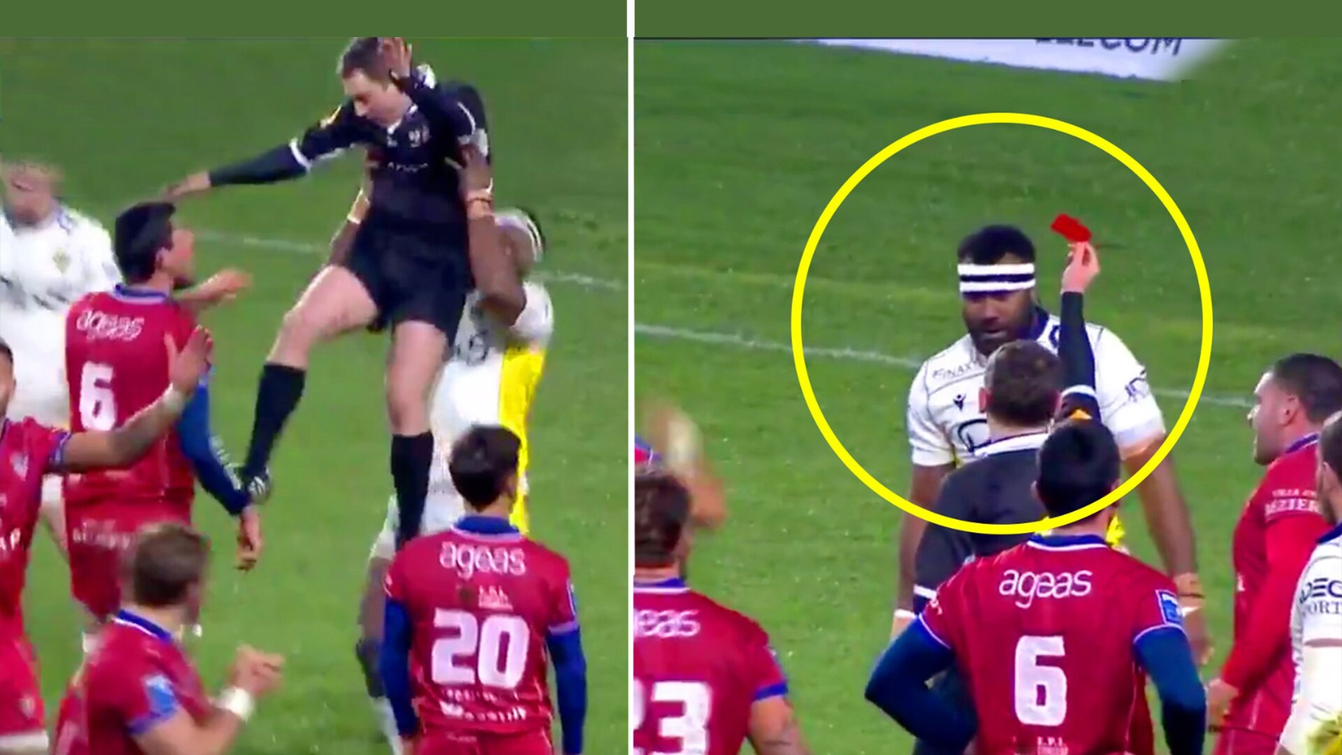 Disbelief as player is sent off for lifting referee in shocking French rugby moment
