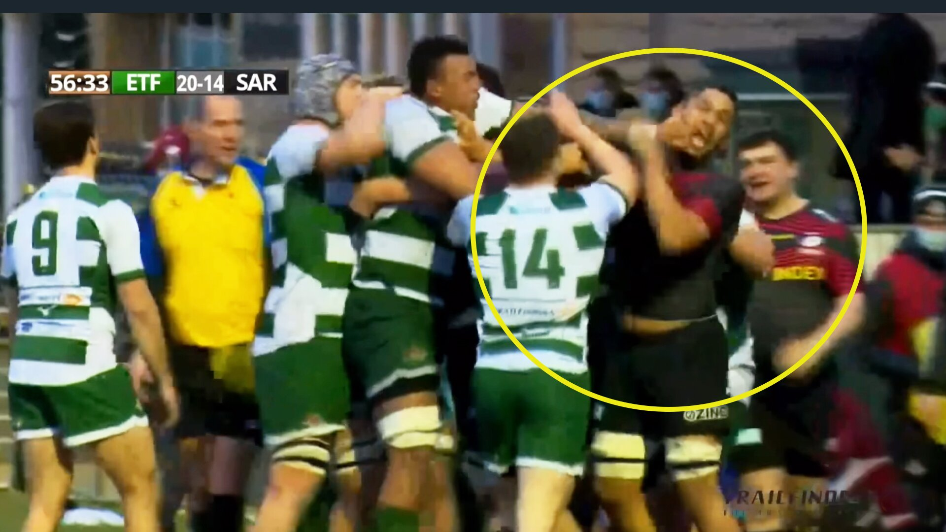 Mass brawl spills over into stands as Ealing Trailfinders stun Saracens with shock win