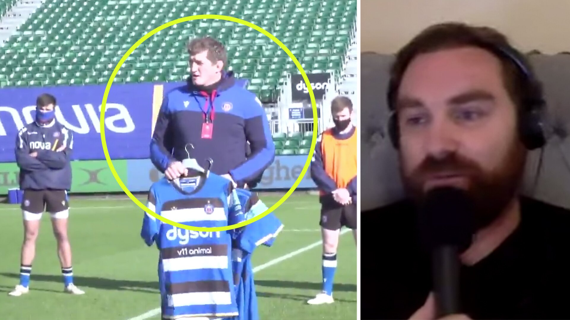 Footage of Bath coach Stuart Hooper in pre match video is going viral for wrong reasons