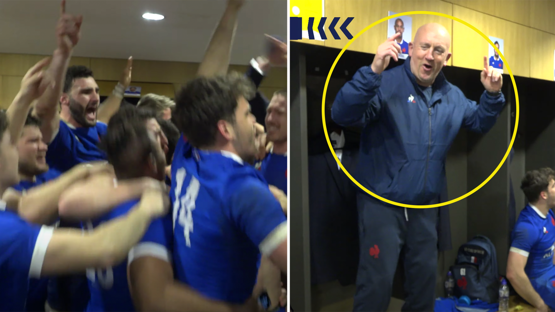 Strangely erotic Shaun Edwards dance is the highlight of France's epic post win sing-a-long