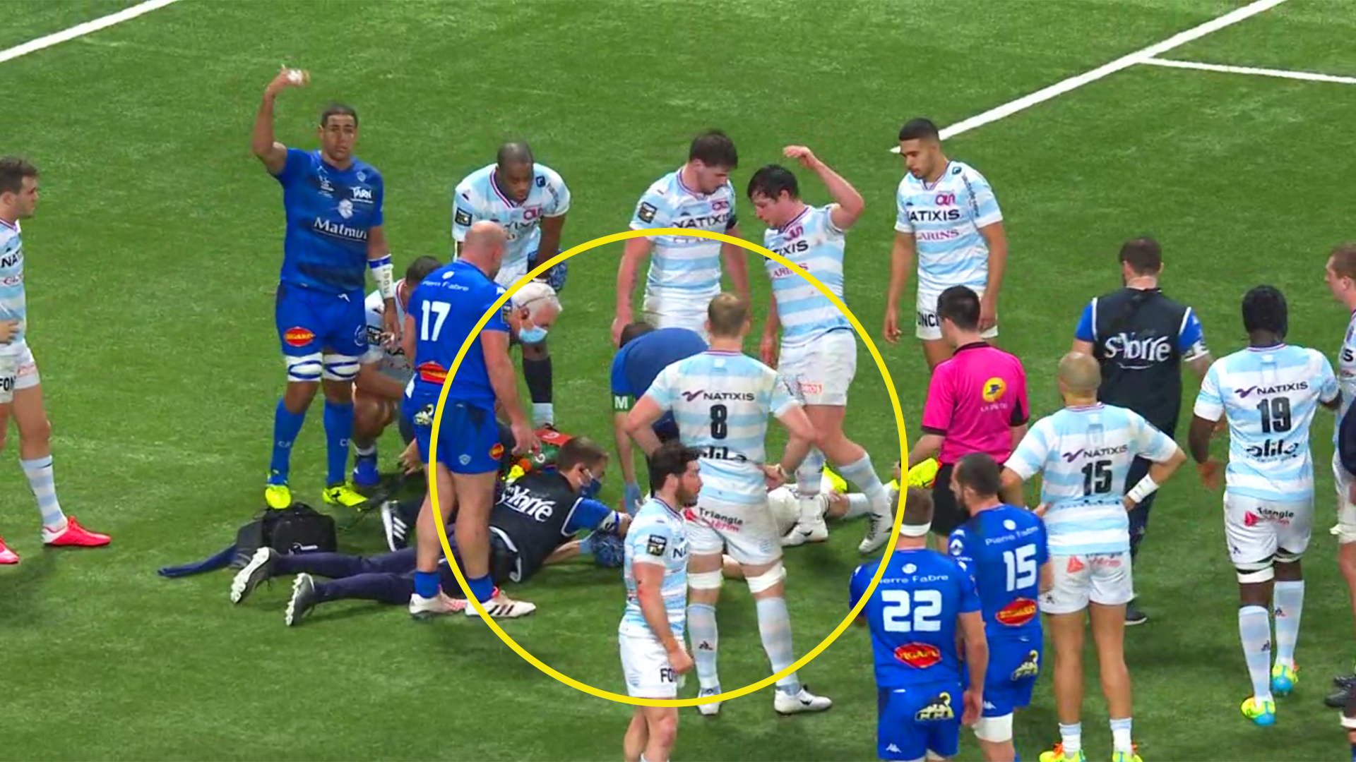 Horrific scenes in Top 14 as players realise teammate is unconscious after final whistle
