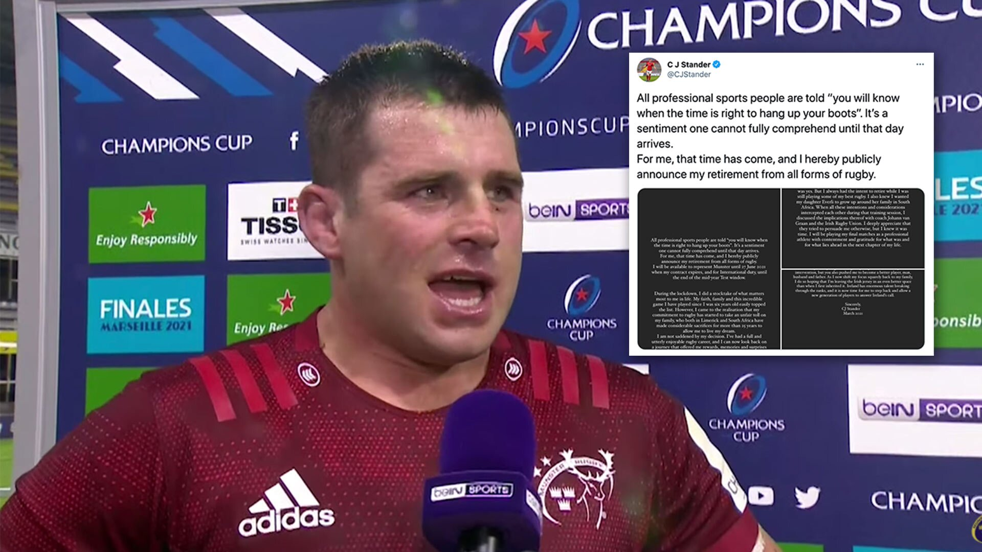 Fans and former players react to CJ Stander and his shock retirement from rugby